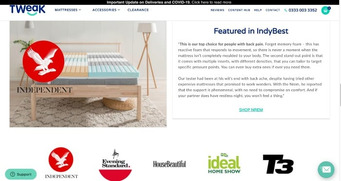 Tweak award-winning mattress